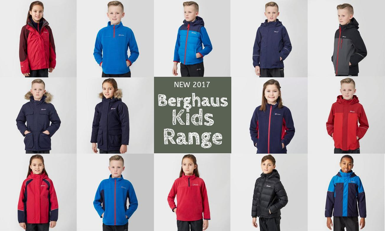 The range of kid's outdoor coats available from Berghaus