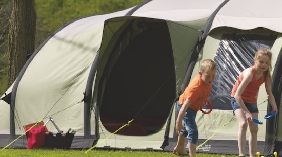 The Outwell Concorde XL with eyebrow porch to help keep the rain out when you enter the tent in the wet.