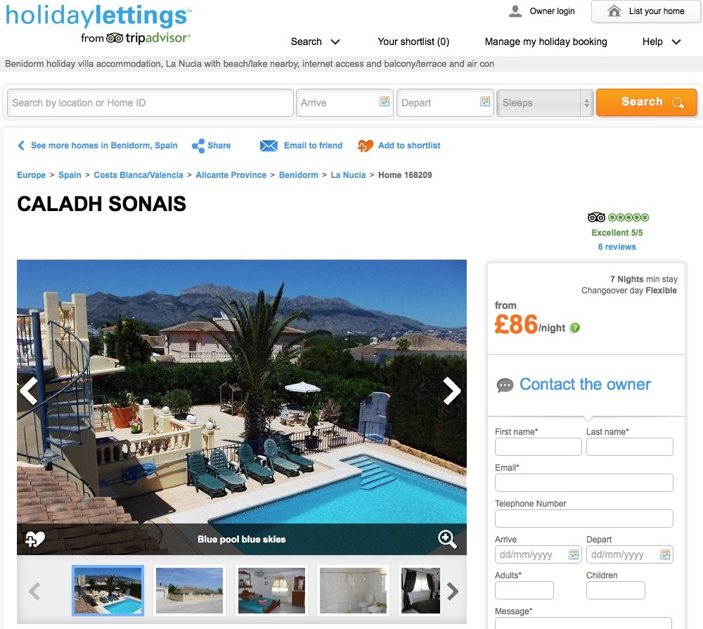 Booking a villa in Spain with Holiday Lettings (link to Trip Advisor review)