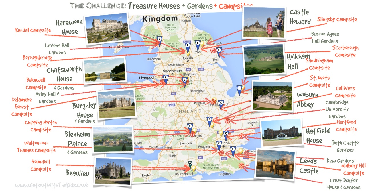 Treasure Houses Gardens Campsites Map
