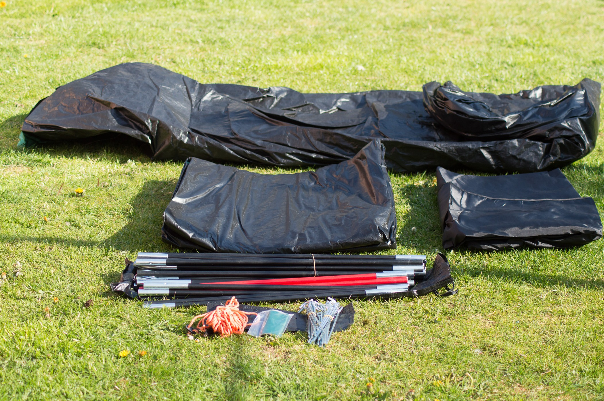 Contents of tent bag