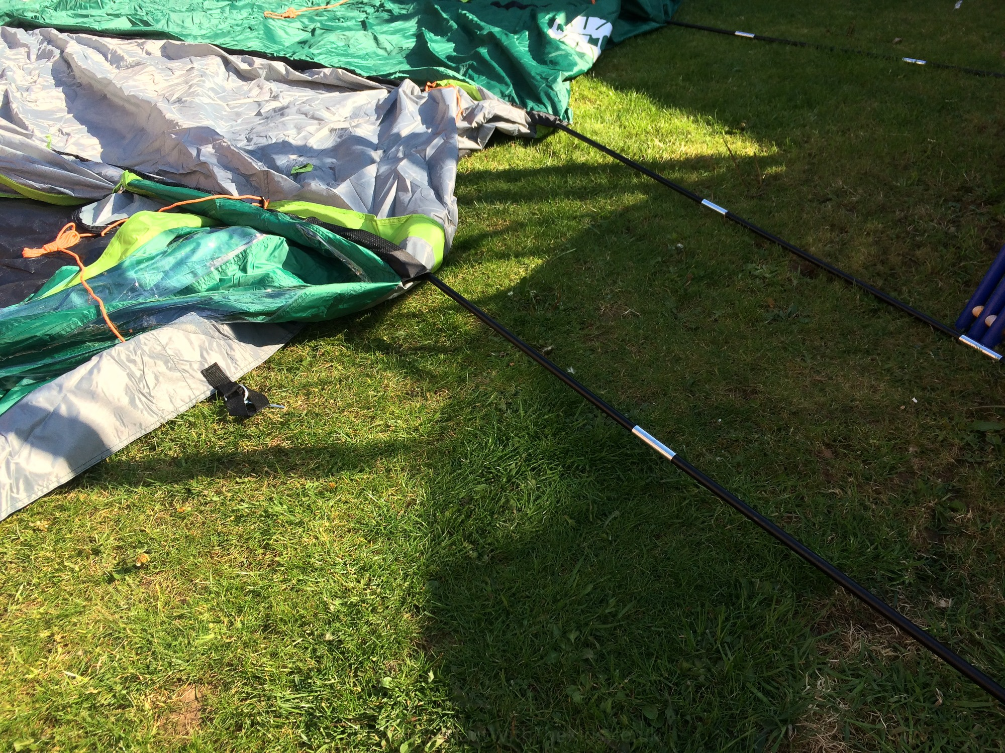 Tent poles threaded into the tent