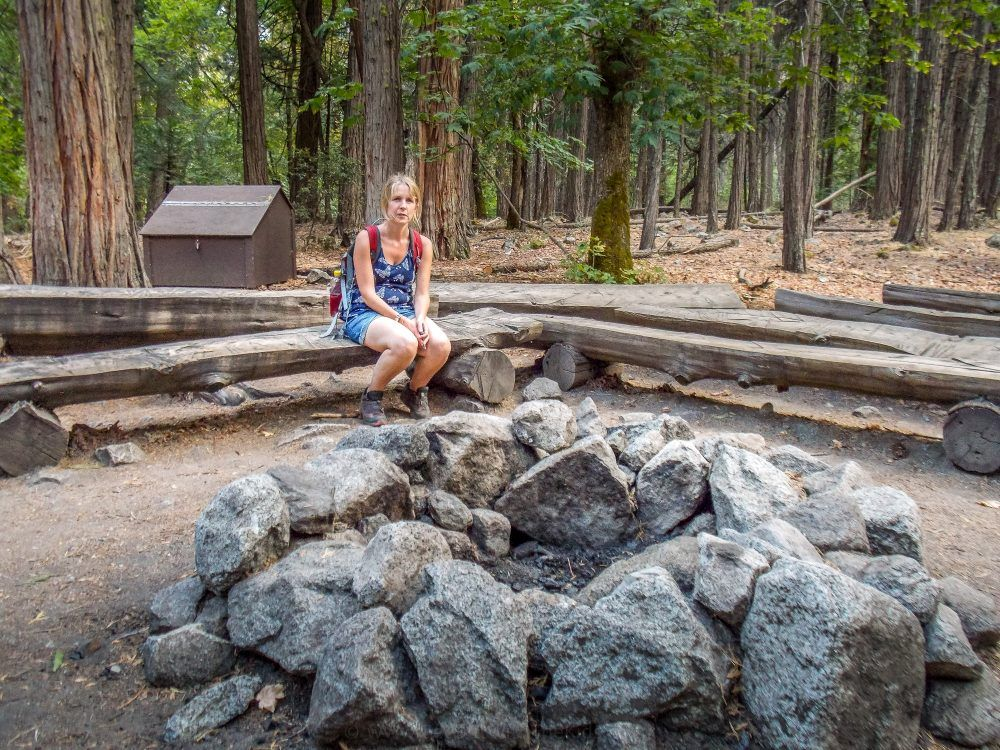 Large fire pit at Yosemite Valley
