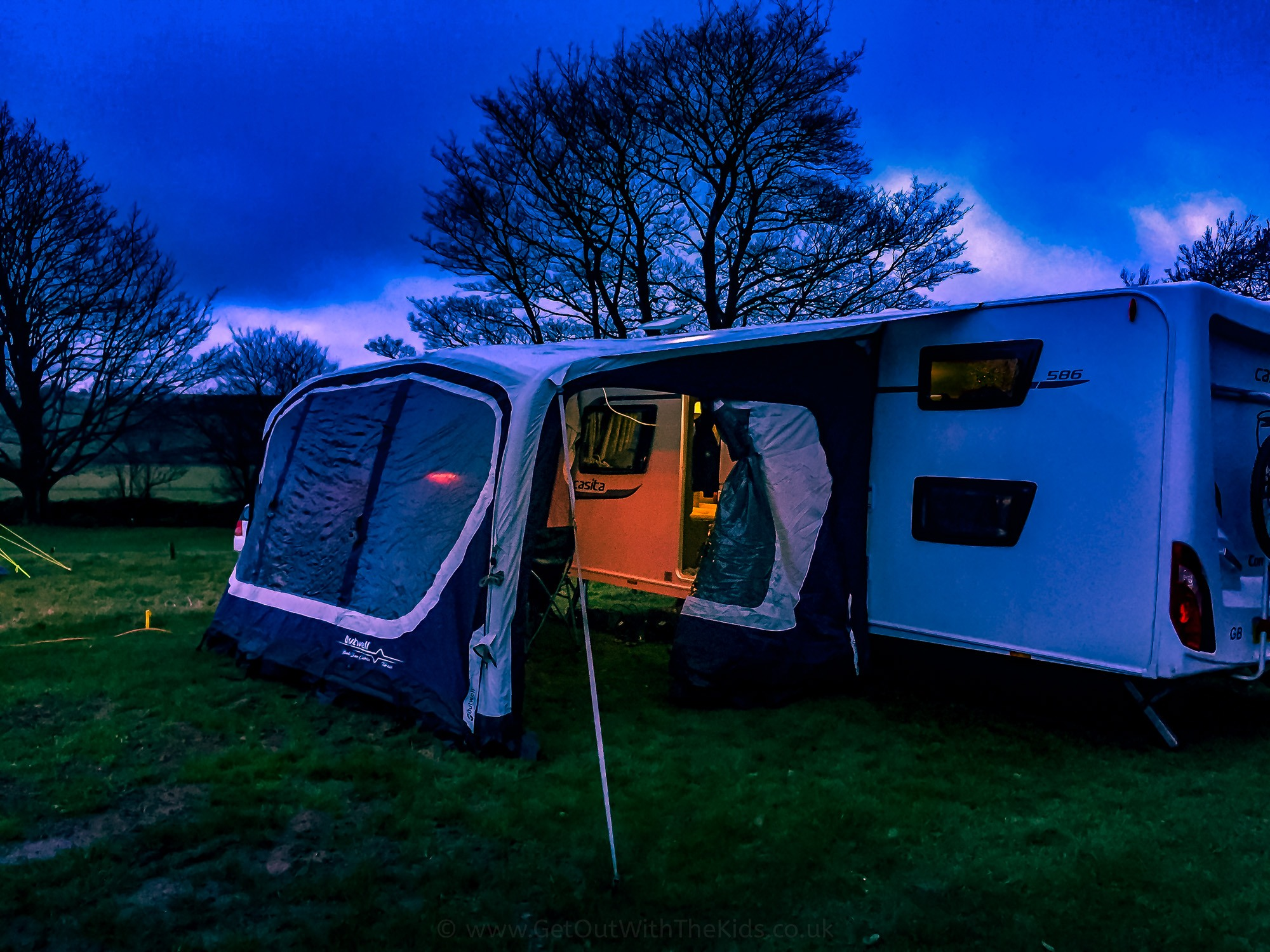 Warming up the caravan awning