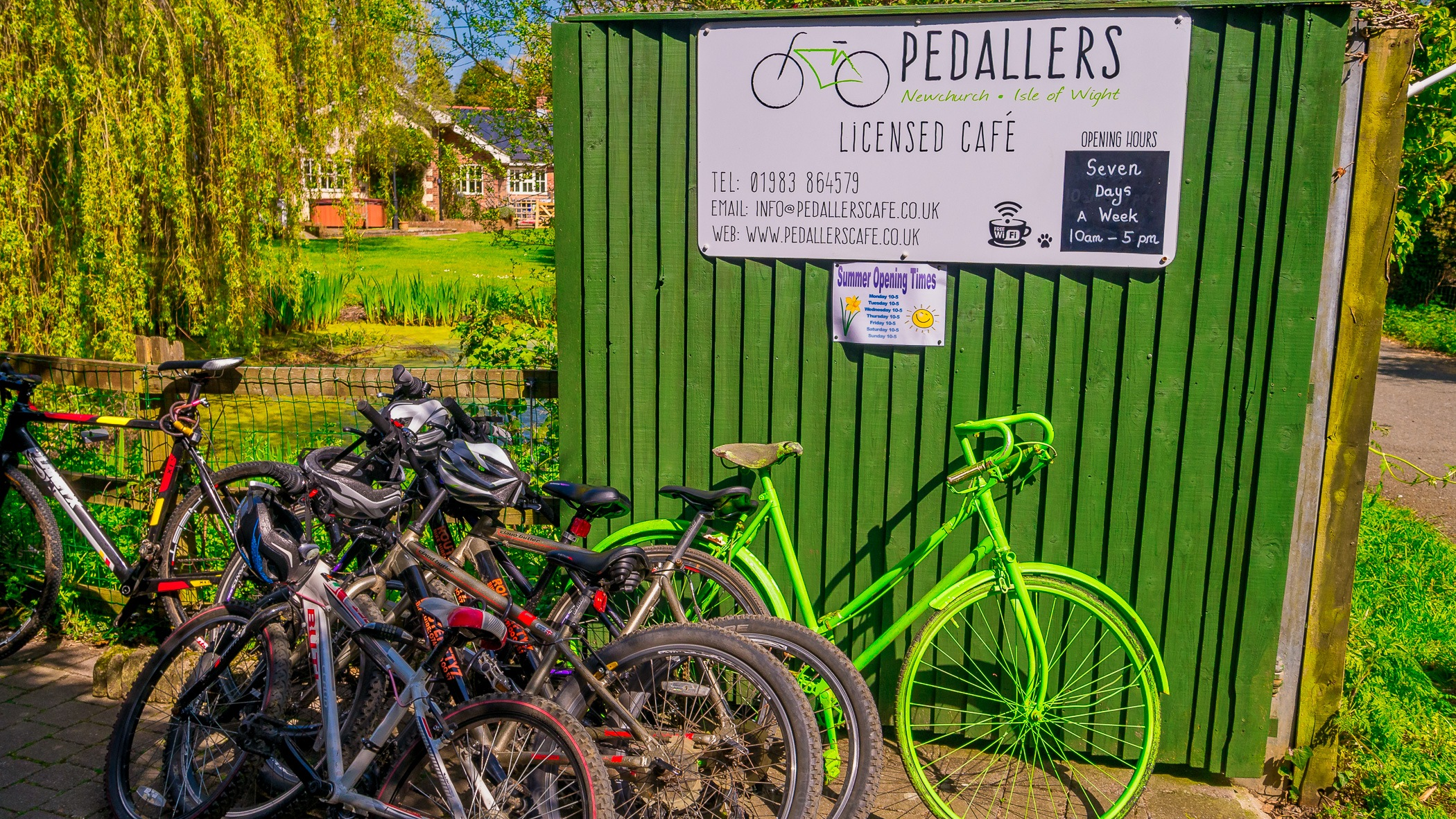 Stopping at the Pedallers Cafe