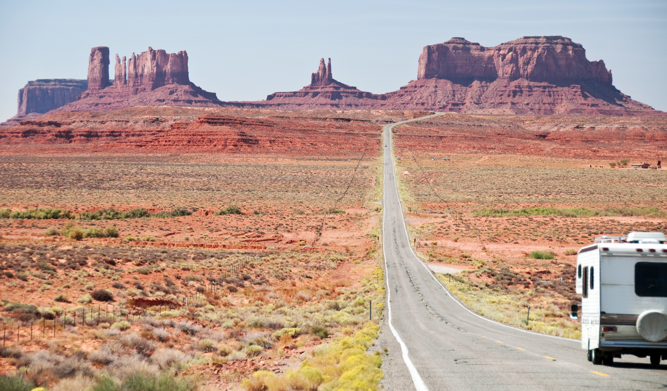 RV motorhome entering monument valley, utah