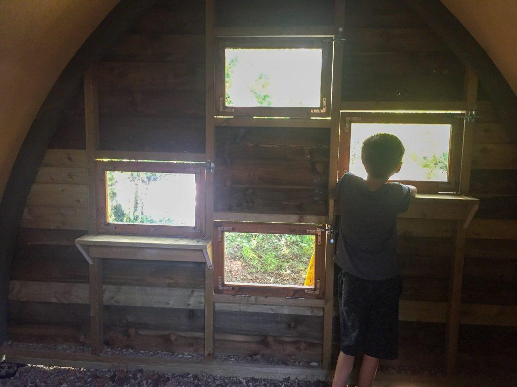 Inside the bird hide at the campsite