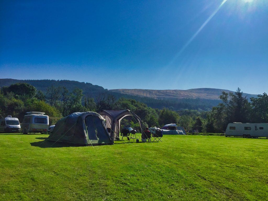 View of a camping field at Rhandirmwyn Campsite