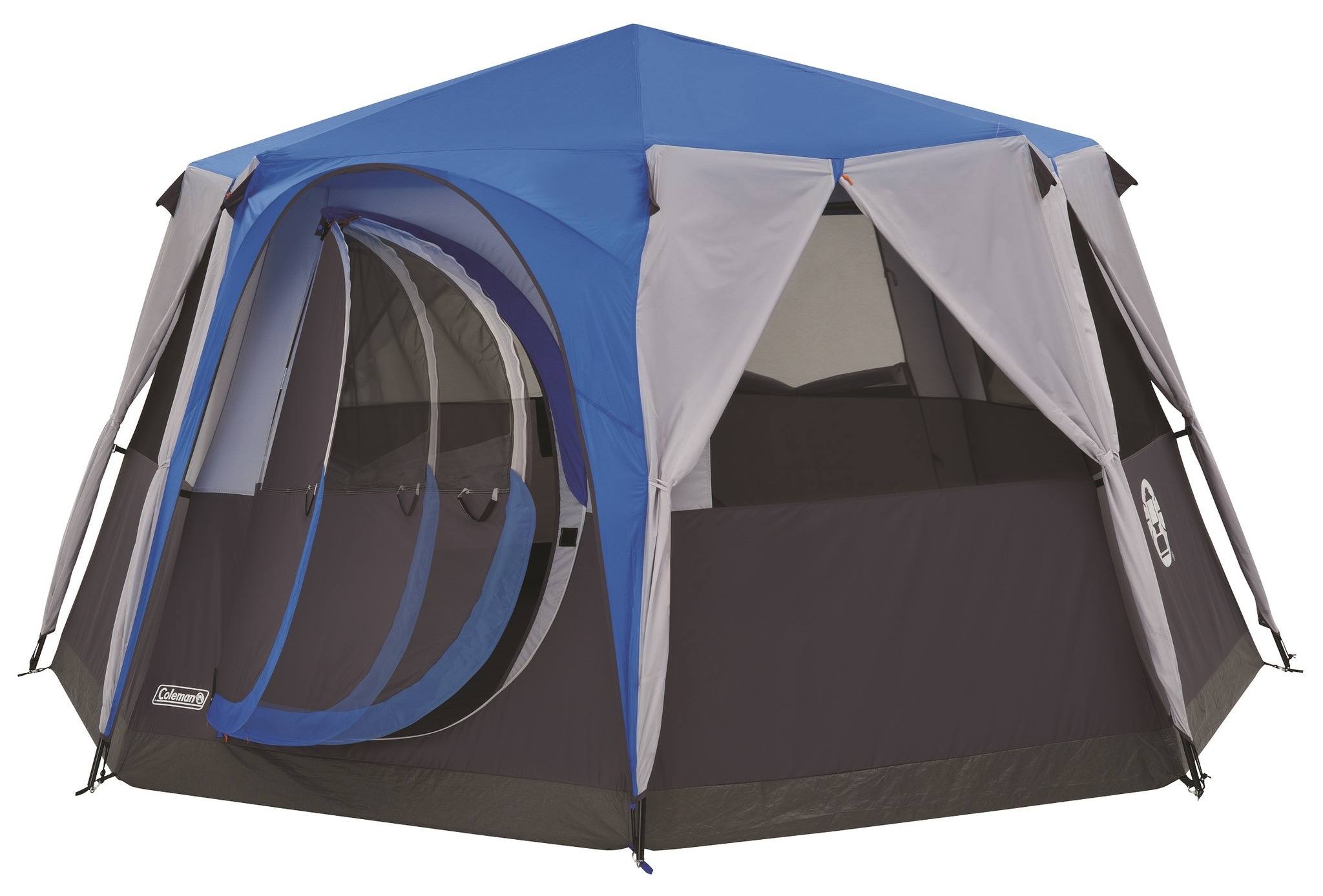 Tent with blinds open